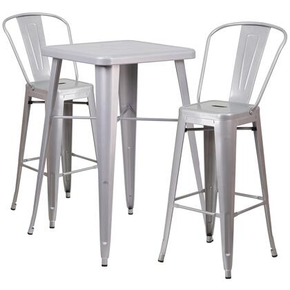 CH31330B Collection CH-31330B-2-30GB-SIL-GG 3 Piece Indoor-Outdoor Bar Table Set with Curved Back Vertical Slat Chair  Footrest Support  Powder Coat