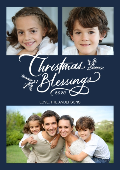 Christmas Photo Cards 5x7 Cards, Premium Cardstock 120lb, Card & Stationery -Christmas Blessings Photo Collage by Hallmark