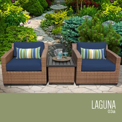 LAGUNA-03a-NAVY Laguna 3 Piece Outdoor Wicker Patio Furniture Set 03a with 2 Covers: Wheat and