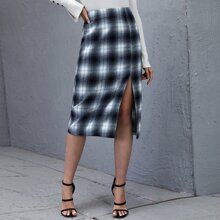 Falda de tartan de muslo con abertura