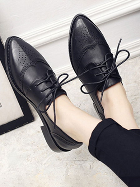 Milanoo Women Grey Oxfords Pointed Toe PU Leather Lace Up Casual Shoes