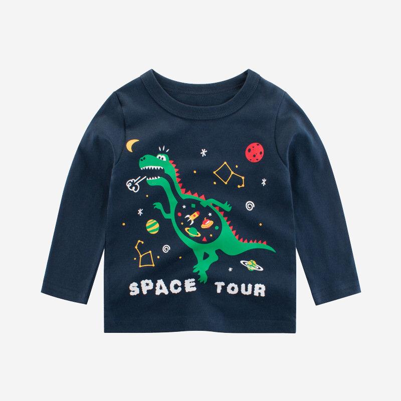 Boy's Dinosaur Cartoon Print Long Sleeve Casual T-shirt For 2-10Y