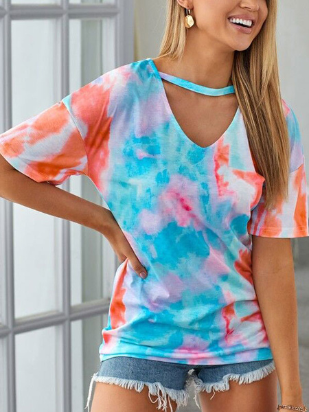 Milanoo Mujeres Camisetas Light Sky Blue Tie Dye V-Neck Polyester Casual T-Shirt