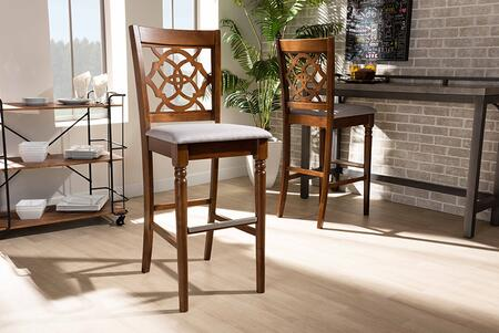 Alexandra Collection RH322B-GREY/WALNUT-BS Modern and Contemporary Grey Fabric Upholstered and Walnut Brown Finished Wood 2-Piece Bar Stool
