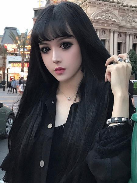 Milanoo Pelucas largas de Lolita Pelucas de pelo de Lolita de fibra resistente al calor negro con flequillo contundente