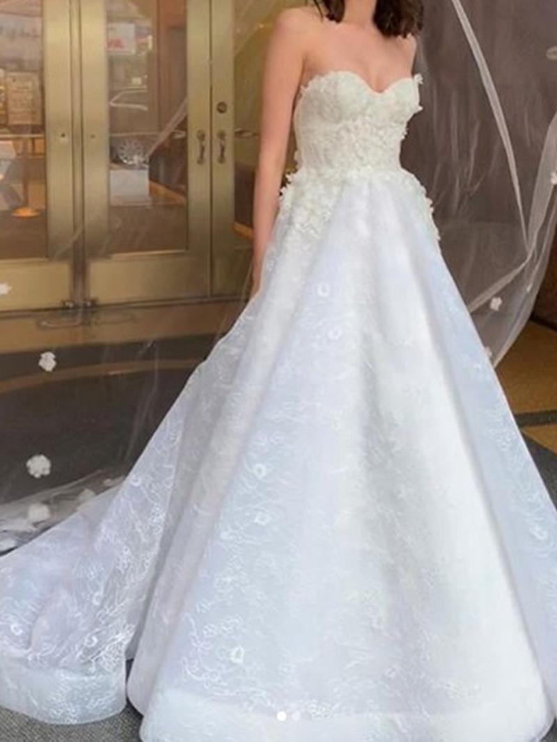 Ericdress A-Line Sleeveless Court Appliques Church Wedding Dress 2020