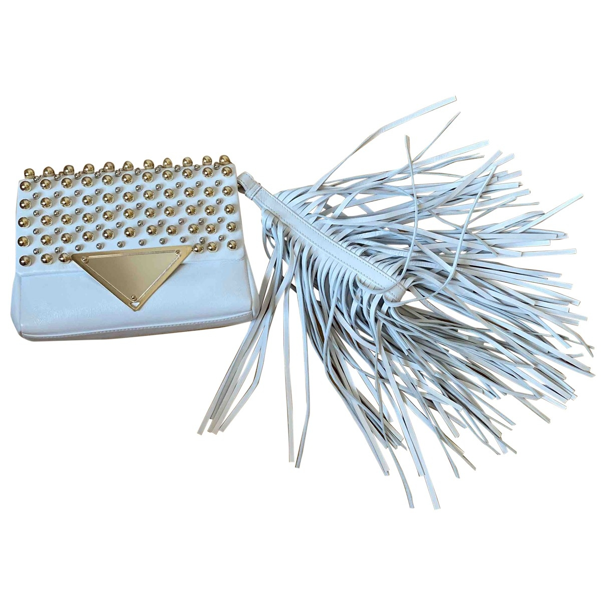 Sara Battaglia \N Clutch in  Weiss Leder