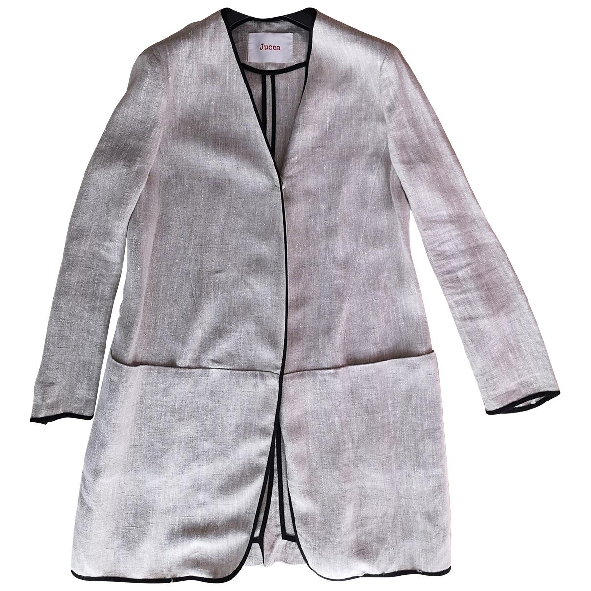 - Manteau Oversize pour femme en lin - gris