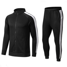 Men Zip Up Colorblock Sports Sweatshirt & Athletic Pants