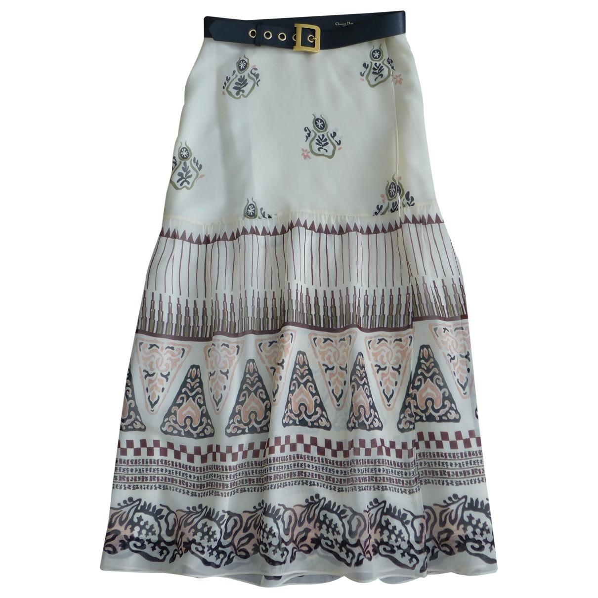 Dior \N Ecru Silk skirt for Women 40 FR
