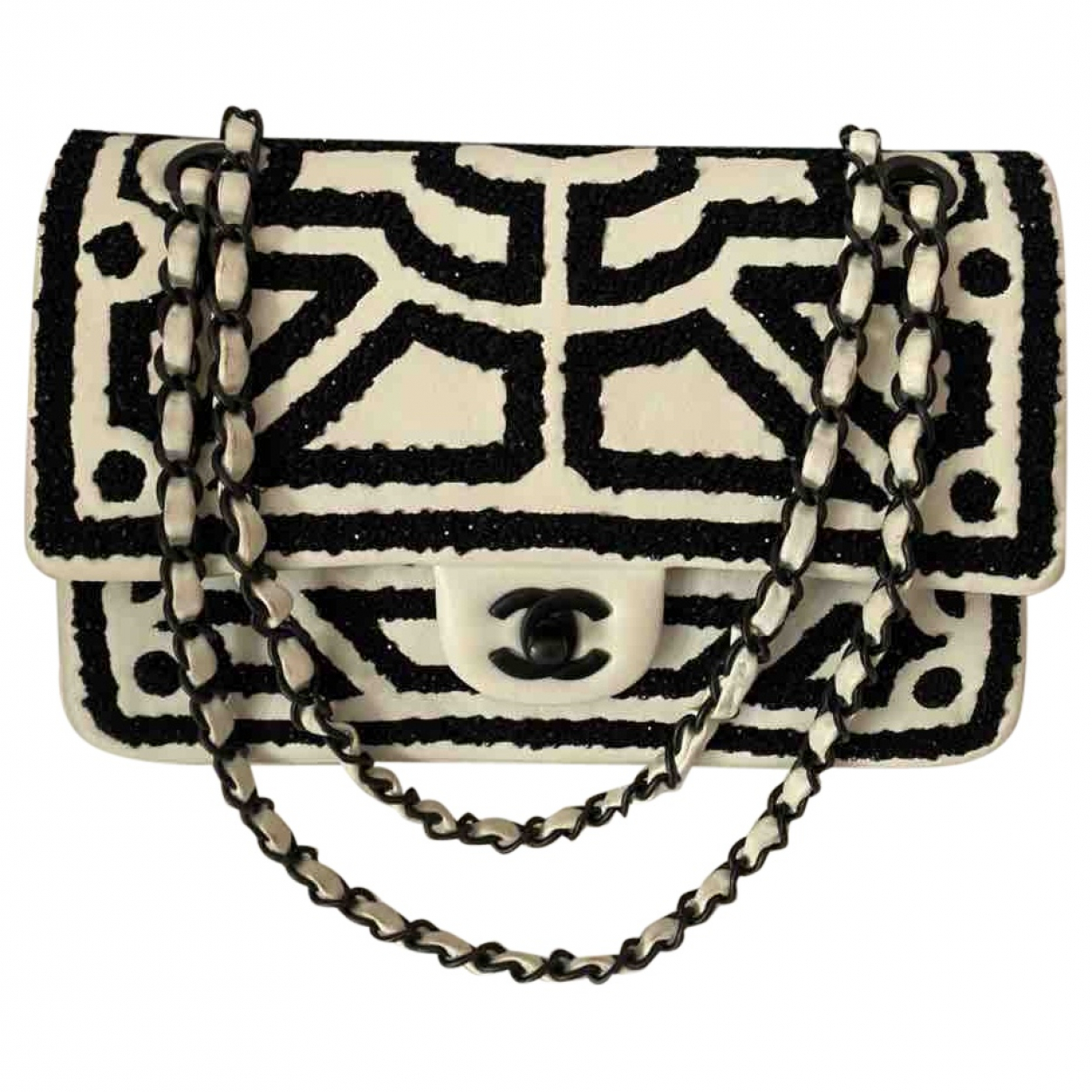 Chanel Timeless/Classique Handtasche in  Weiss Leder