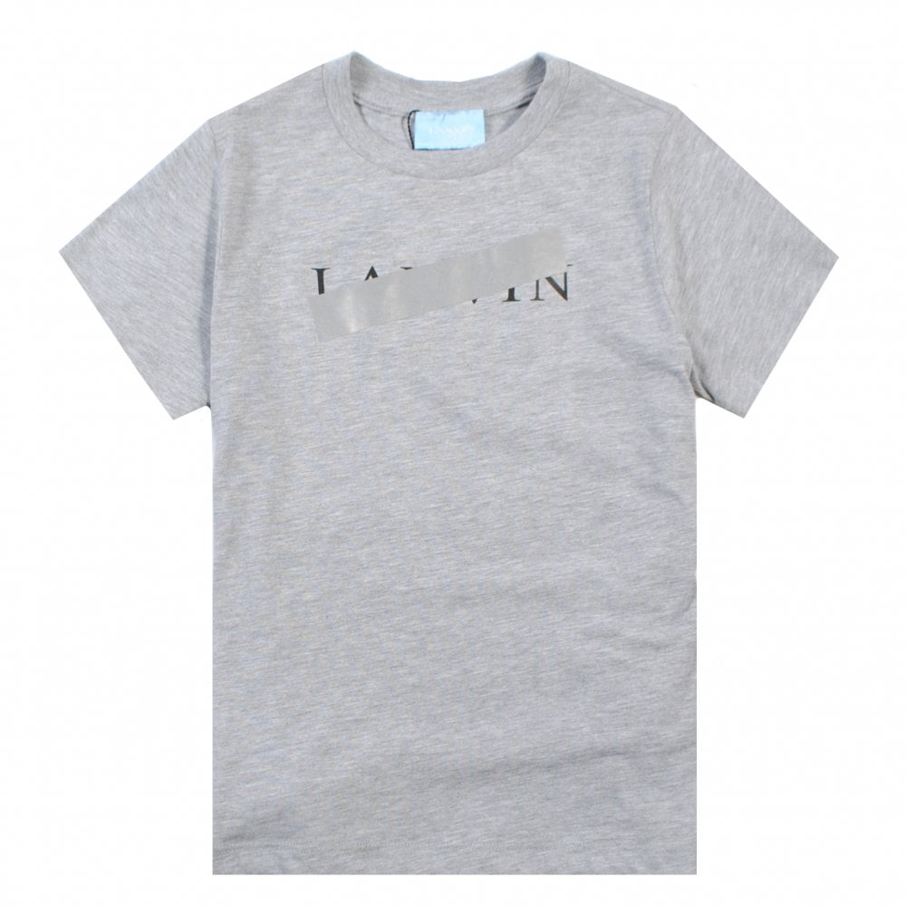 Lanvin Crossed Logo T-Shirt Colour: GREY, Size: 12 YEARS