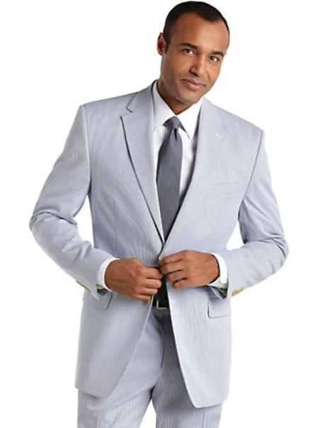 Single Breasted 2Button Suit Lightweight Mens Suit in Blue