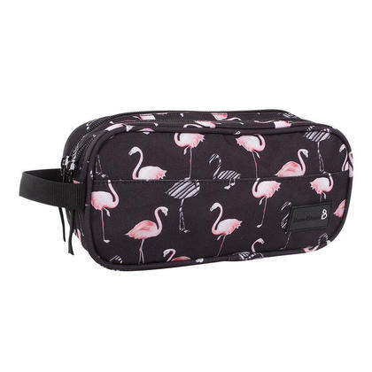 Bond Street Pencil Case, 2 Compartments with Zippered Closure - Flamingo