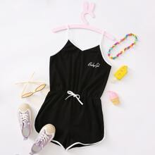Girls Letter Graphic Contrast Binding Cami Romper