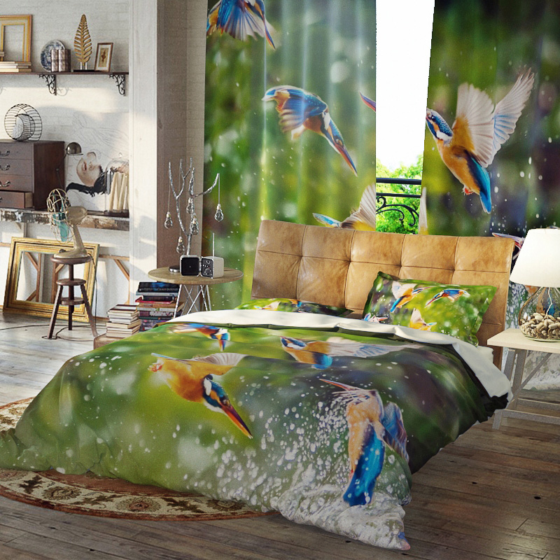 Birds Duvet Cover Set Reactive Printing Three-Piece Set Polyester Bedding Sets Ultra-soft Microfiber No-fading Twin Full Queen King