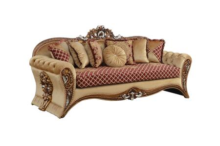 Emperador Collection III Luxury Sofa  Hand Carved and Handcrafted  Seat Cushions Reversible  Mahogany Wood Solid  in Red Gold