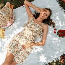 vestido floral de margarita bajo fruncido de espalda con cremallera