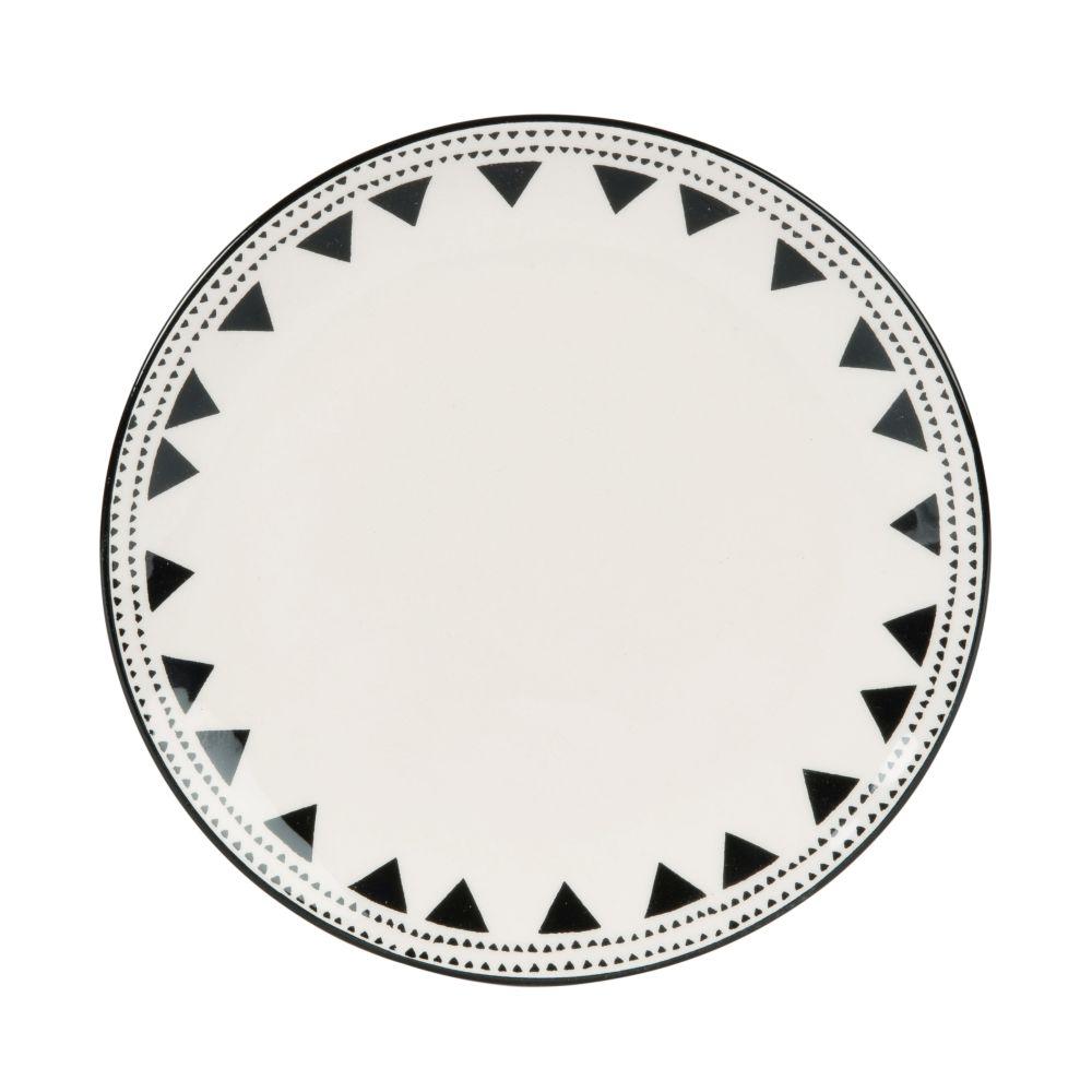 Dessertteller aus Porzellan, weiss mit schwarzen Motiven