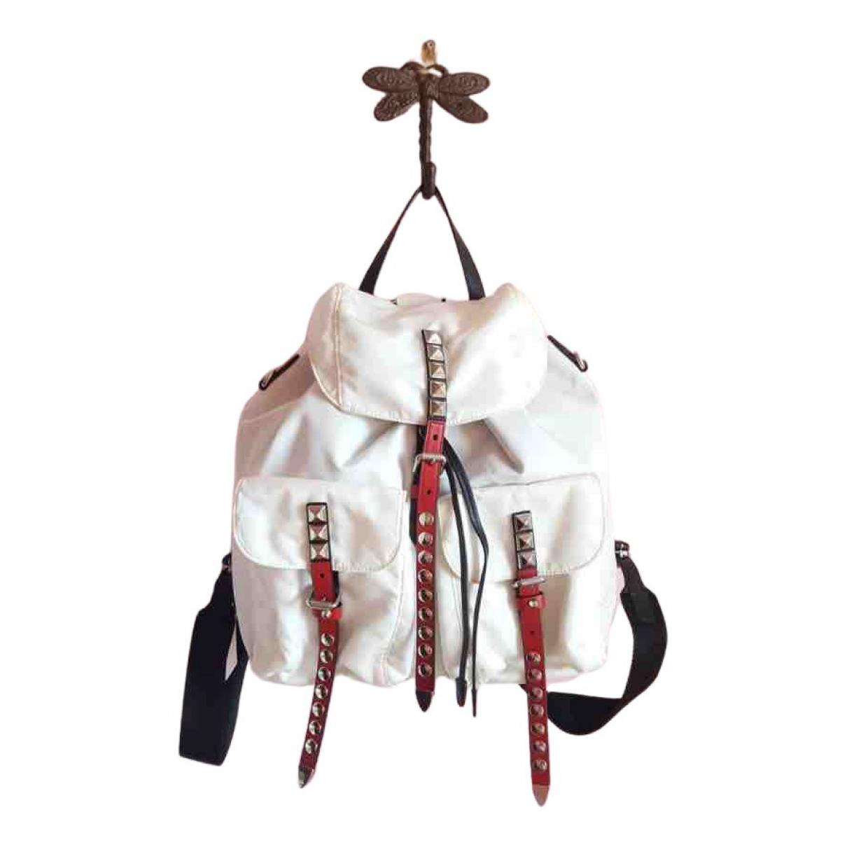 Prada Re-Nylon White Leather backpack for Women N