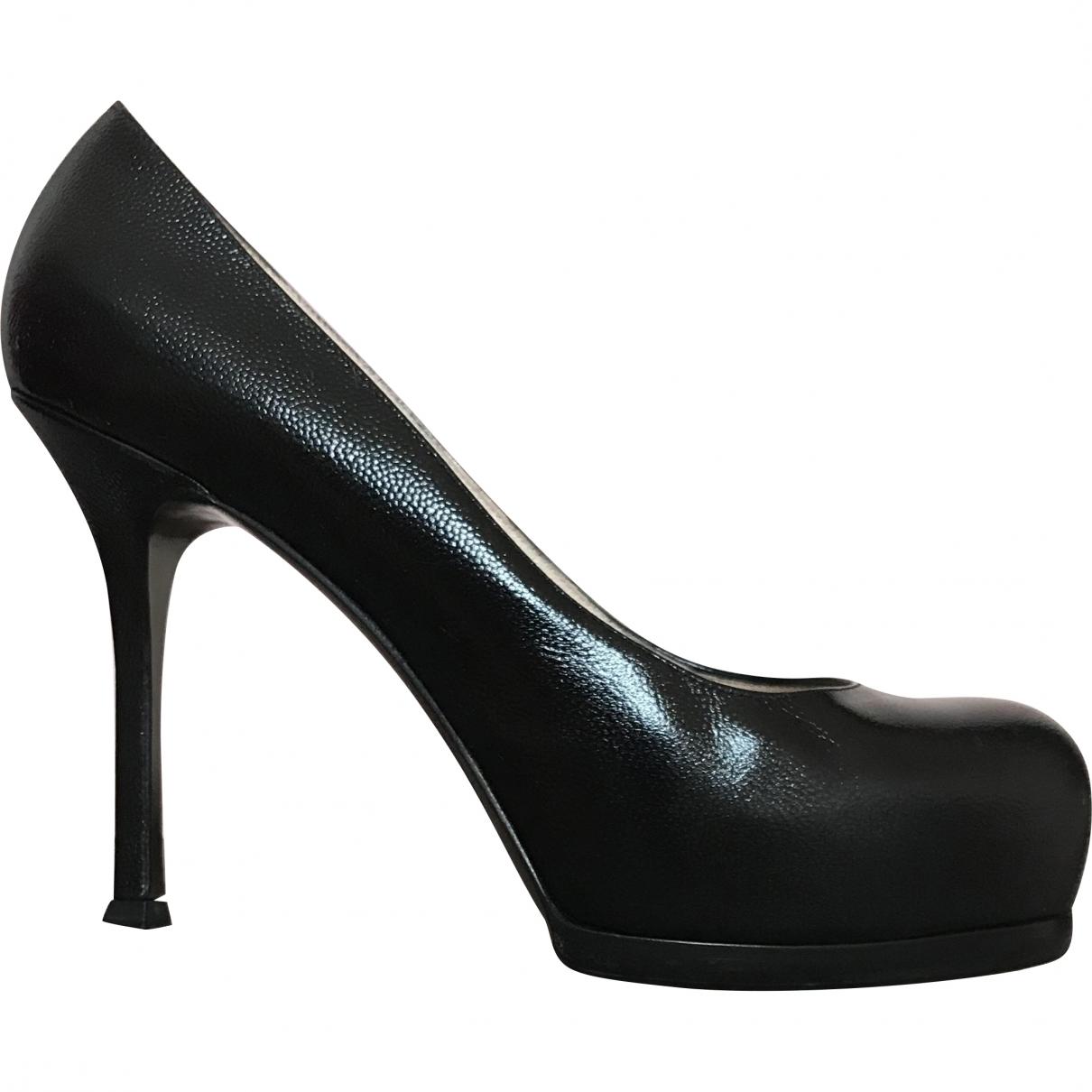 Yves Saint Laurent Trib Too Black Leather Heels for Women 39 EU