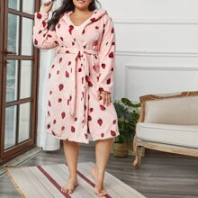 Plus Allover Strawberry Belted Hooded Flannel Robe
