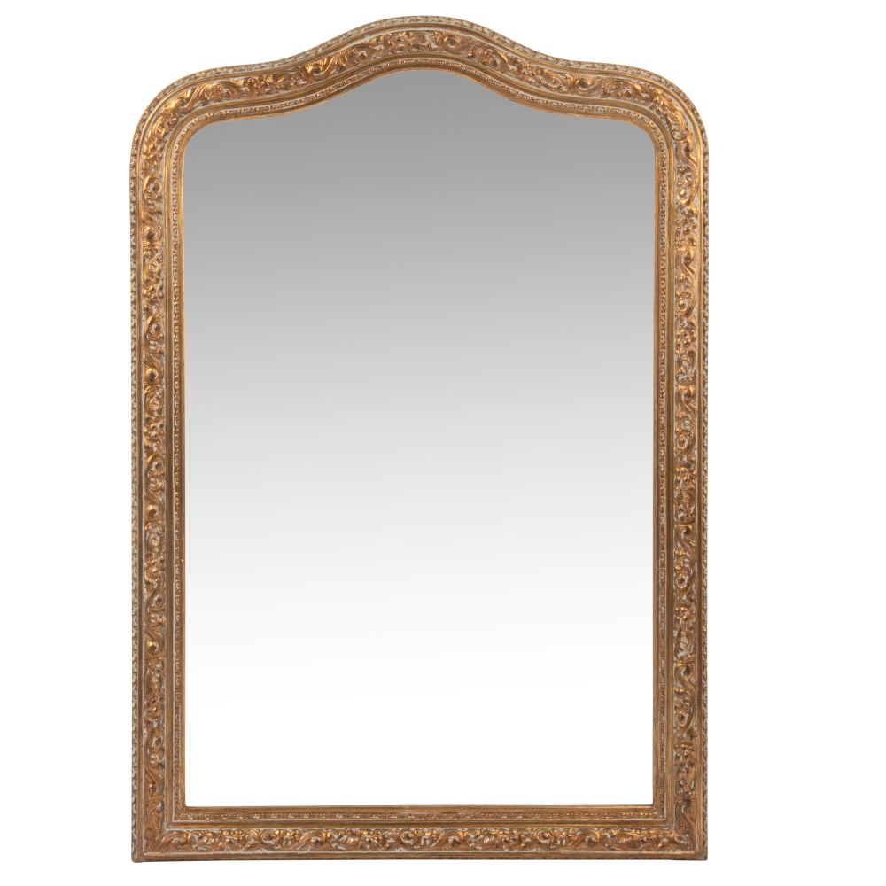 Spiegel mit Rahmen aus matt-goldenem Paulownienholz 65x95