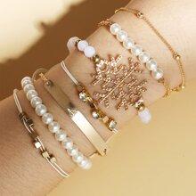 7 Stuecke Armband mit Kunstperlen & Strass Dekor