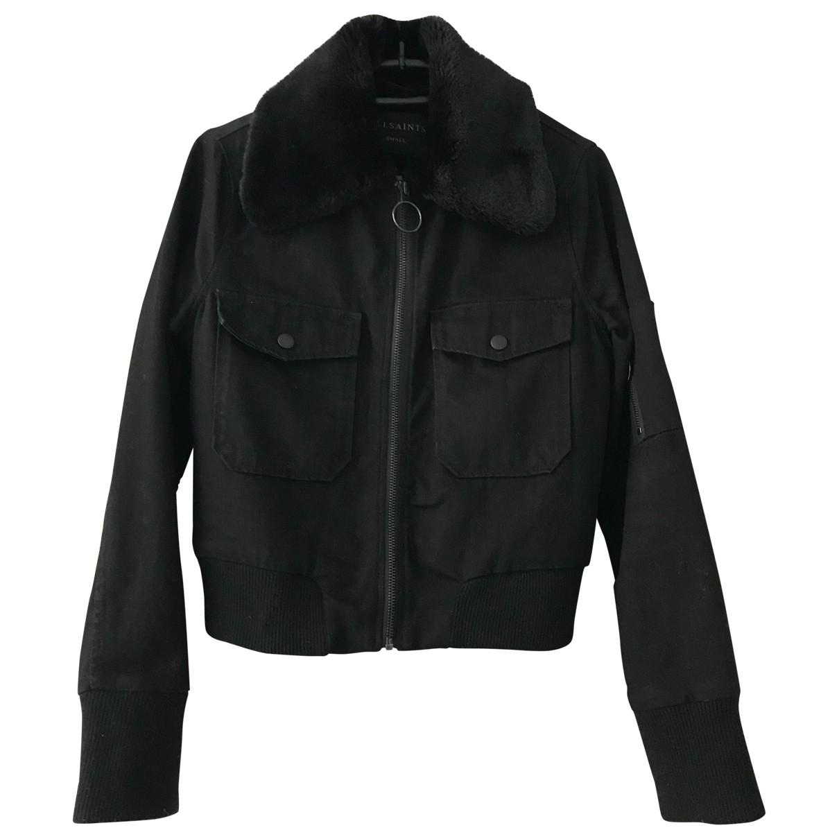 All Saints \N Black Denim - Jeans Leather jacket for Women 36 FR