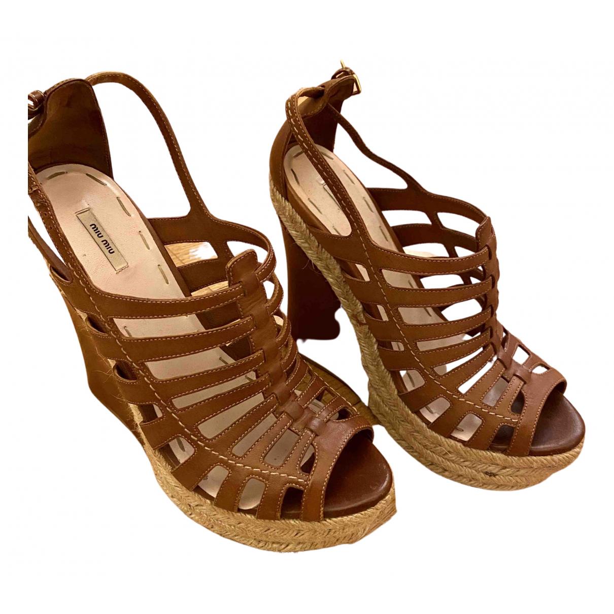 Miu Miu N Brown Leather Heels for Women 39.5 EU