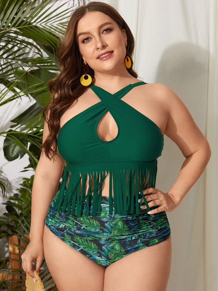 Yoins Plus Size Tropical Crossed Front Design Self-tie Design Sleeveless SWIMWEAR
