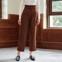 Paperbag Waist Buckle Belted Tailored Pants