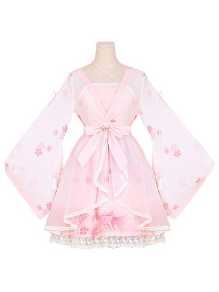 Milanoo Trajes Hanfu Lolita OP Vestido de una pieza Gasa Rosa suave Manga larga Volantes Impreso Cubrir con falda de puente JSK
