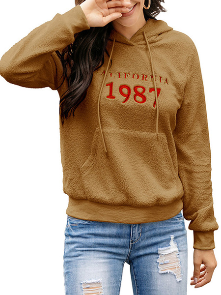 Milanoo Hoodie For Woman Ecru White Long Sleeves Letters Print Polyester Hooded Sweatshirt
