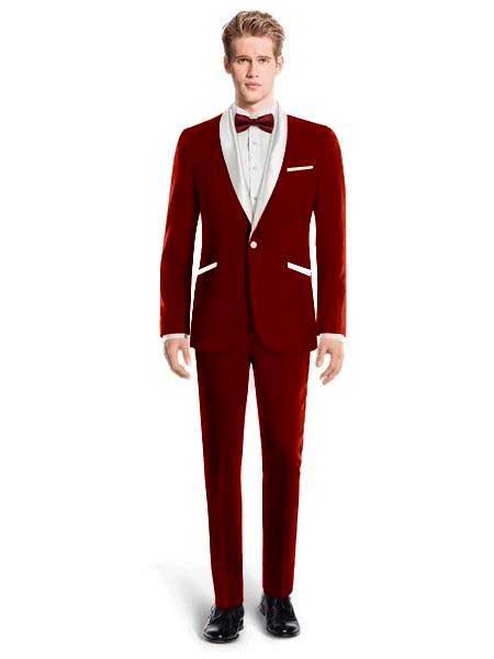 White Lapel Tuxedo Suit  With Vest Wedding / Prom / Stage Maroon