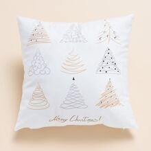 Christmas Tree Print Cushion Cover Without Filler