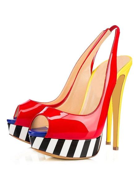 Milanoo Platform High Heel Sandals Womens Multicolor Peep Toe Slingback Stiletto Heel Sandals