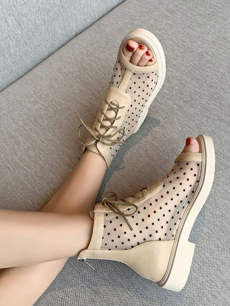 Milanoo Black Sandal Boots Women Open Toe Lace Up Ankle Boots