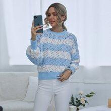 Pullover mit Block Streifen und Konfetti Muster