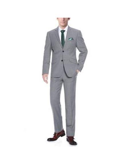 Mens Grey Two Buttons Notch Lapel Wool Slim Fit Two Piece Suit