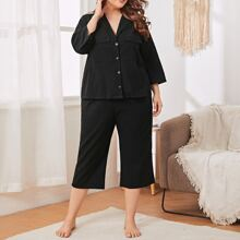 Plus Lapel Flap Pocket Button Front Pajama Set