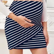 Maternity Wrap Detail Striped Skirt