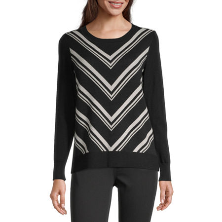 Liz Claiborne Womens Round Neck Long Sleeve Chevron Pullover Sweater, X-small , Black