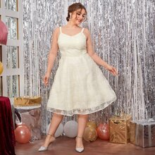 Vestidos Tallas Grandes Malla en contraste Liso Glamour