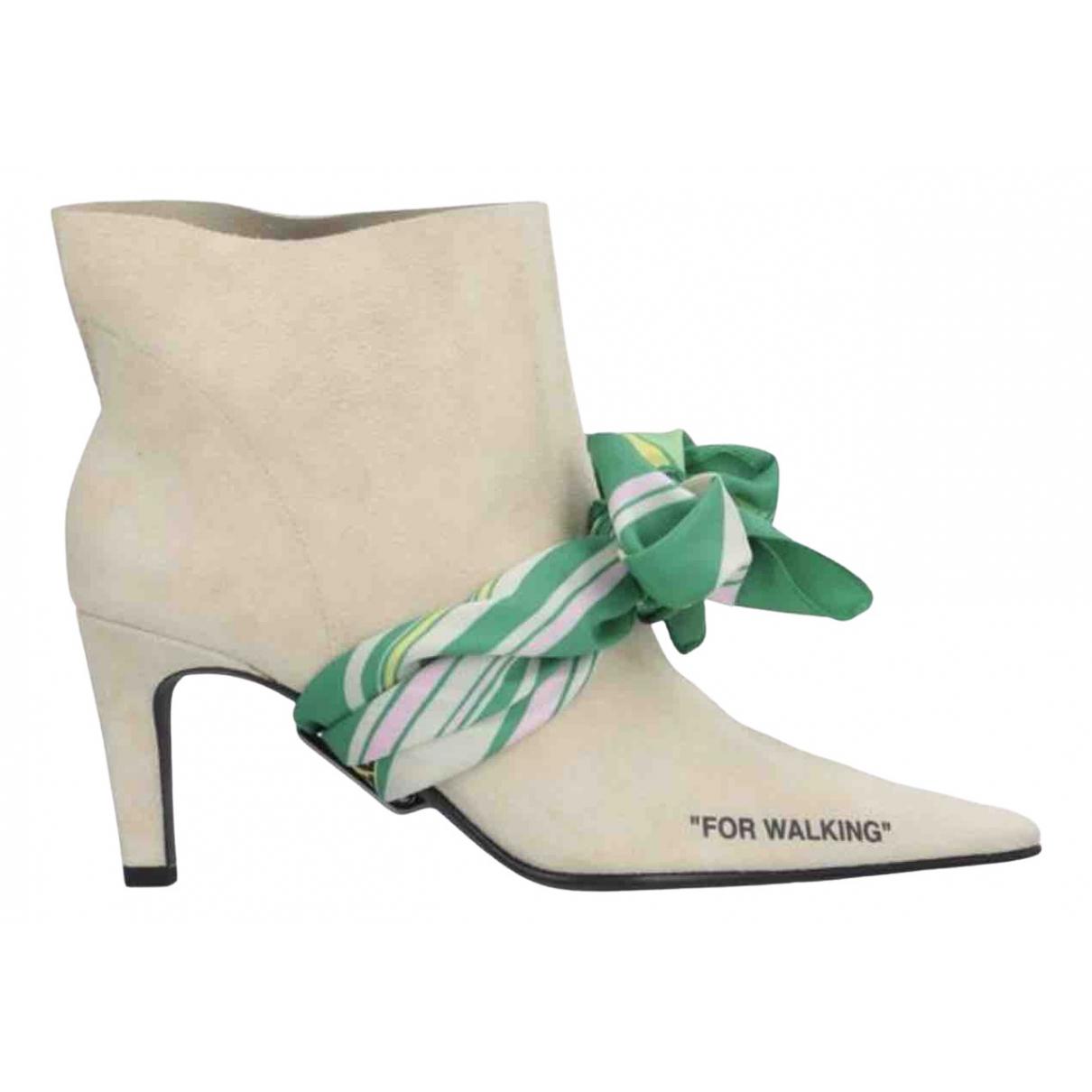 Off-white - Boots   pour femme en suede - beige