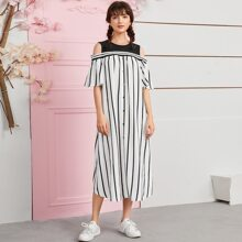 Cold Shoulder Buttoned Front Striped Dress