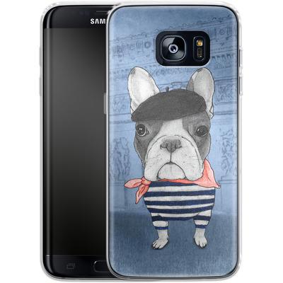 Samsung Galaxy S7 Edge Silikon Handyhuelle - French Bulldog with Arc de Triomphe von Barruf