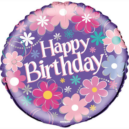 Birthday Blossoms Round Foil Balloon 18