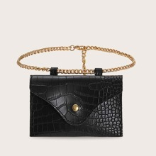 Croc Embossed Flap Chain Fanny Pack