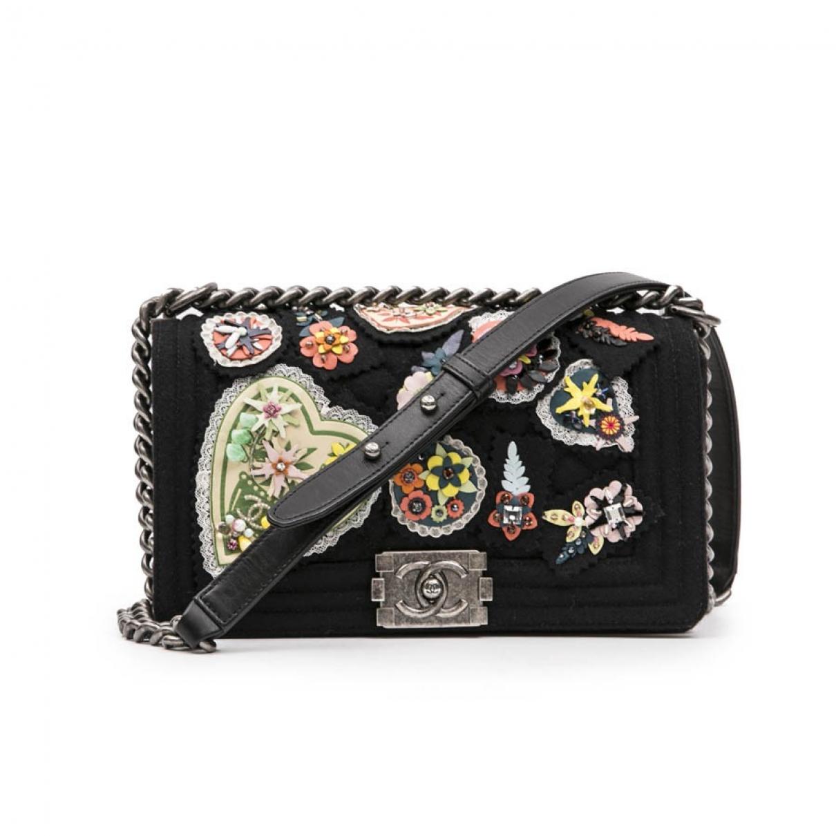 Chanel Boy Handtasche in  Schwarz Wolle